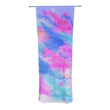 "Ebi Emporium ""Seeing Stars II"" Blue Pink Decorative Sheer Curtain"