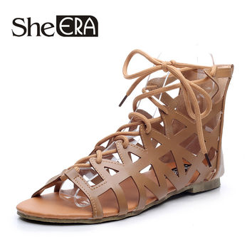 She Era Fashion Women Shoes Lace up Gladiator Sandals Summer Shoes for Woman Cross-tied Pu Leather Flats Black/Apricot/Blue
