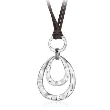 2 layer Retro Long Necklace Artificial Leather Rope Double Circles Necklace & Pendant
