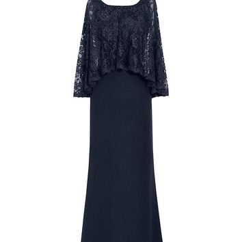 Fashion Plaza Women's Lace Sleeves Scoop Neck Long Chiffion Lace Mother of the Bride Dress