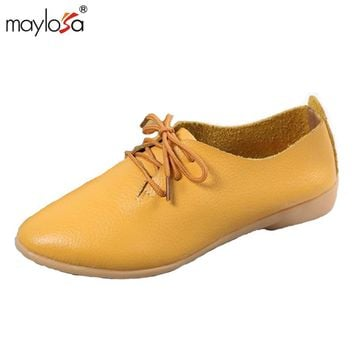 MAYLOSA Women Loafers Shoes Genuine Leather Casual Flat Shoes Pointed Toe Nurse Shoes spring Autumn Leather Driving Boat Shoes