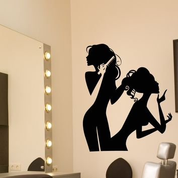 Vinyl Wall Decal Hair Beauty Salon Girls Makeup Fashion Stickers (2484ig)
