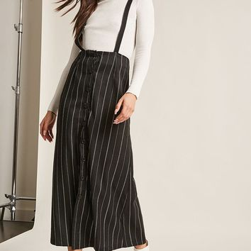 Striped Button-Front Overall Dress
