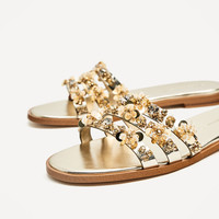 GOLD BEADED SLIDES