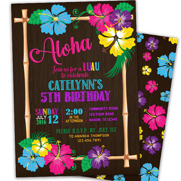 Luau Birthday Invitation - Aloha Invitations - Girl Birthday - Pool Party - Tropical Kid Party - Hawaii Party - Neon Hibiscus - Tiki Fun
