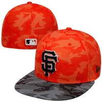 New Era San Francisco Giants 59FIFTY Camo-2-Camo Fitted Hat - Orange/Black