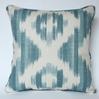 Designer PIllow in Lee Jofa Ikat De Lin Blue on Both Sides, Self Piped