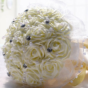 Wedding Flowers Bridal Bouquets Silk Rose Artificial Flower Bouquet Wedding Decorative Bridesmaid Flower Bouquet Crystal Pearl = 1933199172