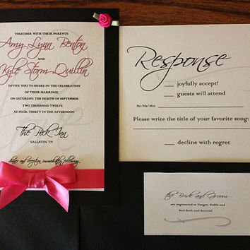 Wedding Invitation Suite- Hot Pink and Black Invitation Suite