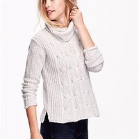 Women's Cable-Front Turtleneck Sweater