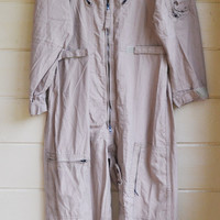 Vintage Military Issue Tan Flyers Coveralls Air Force Flight Suit Mens 46 Regular