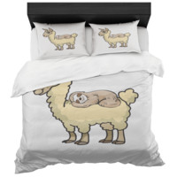 Sloth Sleeping On Llama Duvet Cover And 2 Standard Pillow Shams King And Queen Sizes Microfiber Fabric