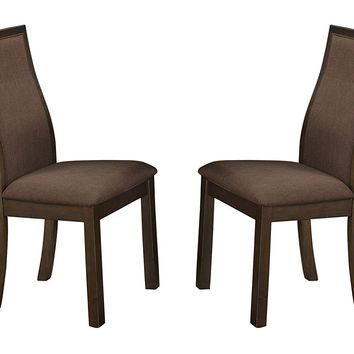 Wood & Fabric Dining Side Chair with Curved Back Rest, Set Of 2