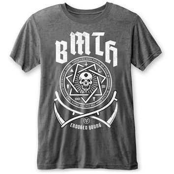 Bring Me The Horizon Men's  Crooked Young Vintage T-shirt Charcoal