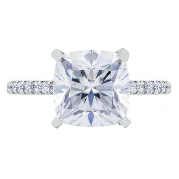 **NEW Cushion Hearts & Arrows Moissanite 4 Prongs Diamond Accent Ice Cathedral Solitaire Ring