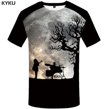 KYKU Band Tshirt Men Moon T Shirt Anime Clothes Cool Punk Rock Tee Tree 3d Printed T-shirt Black Mens Clothing 2018 New Summer