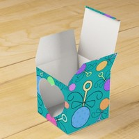 Cute turquoise baby rattle pattern favor boxes