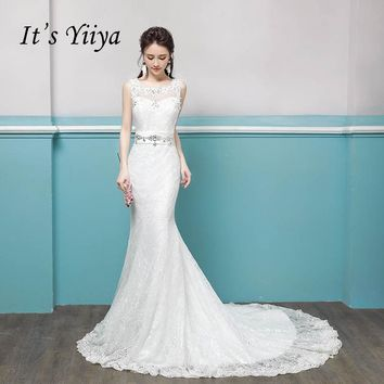 It's YiiYa Lace Backless Crystal Luxury Trailing Bride Gowns