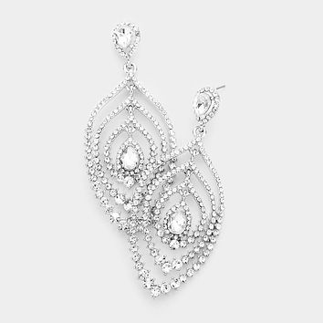 Round Stone Pave Teardrop Accented Evening Earrings