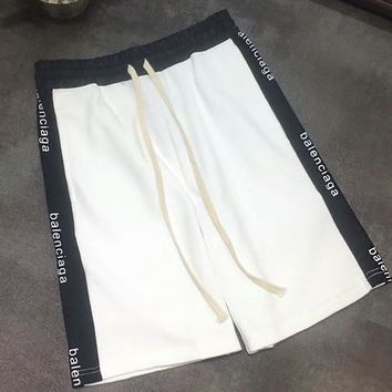 Balenciaga New Fashion Women Men Logo Print Drawstring Sport Stretch Pants Shorts Sweatpants White I-AA-XDD