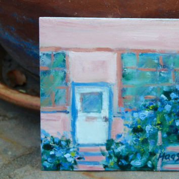 MORNING GLORIES - 6 1/8 x 6 1/8 - Mare Island, CA - Oil Painting - Wall Hanging - Cottage Chic - Flowers - Pink - Green - Blue - Gift Idea