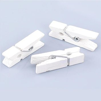 Wood Clothespin Wood Crafts Home Decoration Clips Note Pegs White for Photo Paper Clothes 3.5x0.7cm,50PCs 2016 new