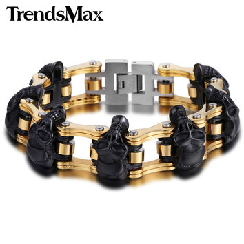 Trendsmax 18mm/22mm Boys Mens Friendship Chain Skulls Link Biker Motorcycle Link 316L Stainless Steel Bracelet HBM66
