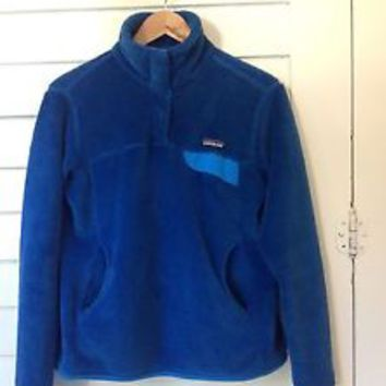 Patagonia Re-Tool Fleece Snap T Pullover Blue Women's Size Medium Jacket Sweater