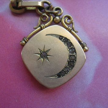 Victorian Crescent Moon and Star Locket Fob, Gold Fill Watch Chain W&H Co 1904
