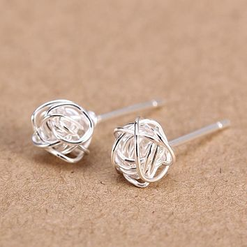 New Real. 925 Sterling Silver jewelry Twine Twisted Love Knot Stud Earrings Tinny Knot Ball Women's 7mm GTLE496