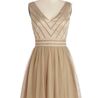 ModCloth Mid-length Sleeveless A-line Fairytale of Two Cities Dress in Caramel