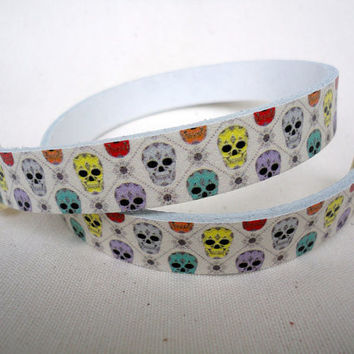 Skull print double wrap leather Bracelet with zamak