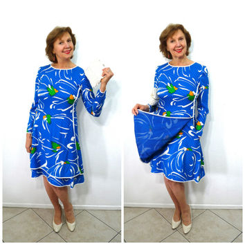 Feminine 80s Silk Dress Stanley Platos Martin Ross Designer blue Party cocktail veining Dress