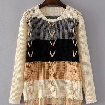 Stripes Patchwork Tassels Lace Up Loose Long Sweater