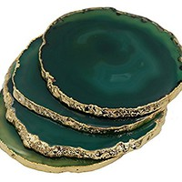"24K Gold Plated Green Agate Drink Coasters Set of Four (4""-5""). Protective rubber bumpers attached"