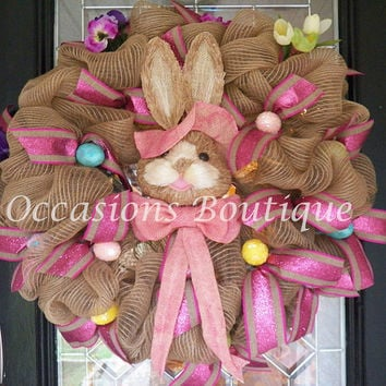 Burlap Easter Wreath, XL Easter Wreath, Easter Decoration, Front Door Wreath, Door Hanger, Wreath for Door, Spring Wreaths, Ready to Ship