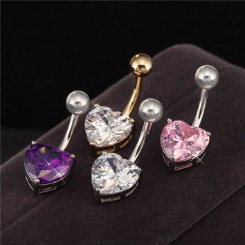 ac PEAPO2Q Body Piercing Jewelry Gold / White Gold Color  Heart Zircon Cubic Bar Ball Navel Belly Button Ring