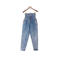 80s Mom Jeans Acid Washed High Waist Tapered Leg Denim Pleated Button Fly Vintage Bleached Distressed 90s Grunge Pants No Problem