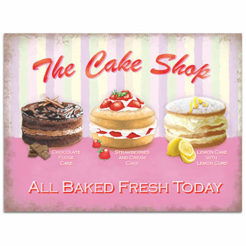 Cake Shop Baked Fresh Today Metal Bakery Sign