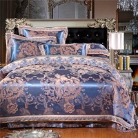 4/6pcs Luxury Silk cotton Bedding Set Embroidery Bed Linens Satin Bed Sheet Set Jacquard Bedclothes Queen/King Size Bed cover