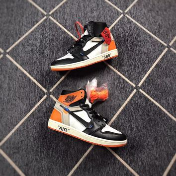 [ Free  Shipping ] OFF-WHITE x Air Jordan 1 Orange Basketball  Sneaker