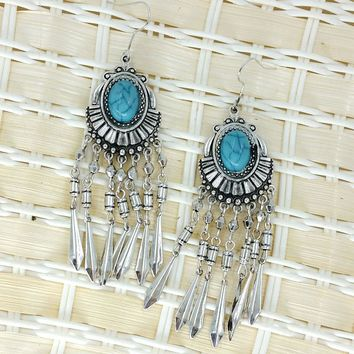 Ancient Silver Fringed Bohemia Drop Earrings