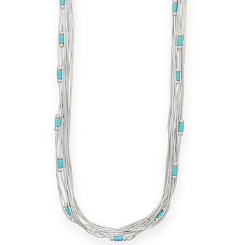 Multistrand Liquid Sterling Silver Necklace with Reconstituted Turquoise