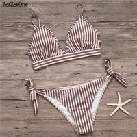 2018 New Bikini Swimwear Women Swimsuit Female Bandage Bathing Suits Bikinis Set Striped Bottom Vintage Solid Beachwear Swimming