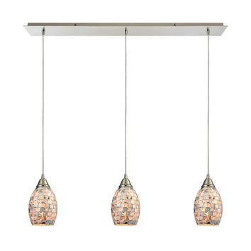 Capri 3 LED Light Pendant In Satin Nickel And Gray Capiz Shell