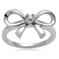 Sterling Silver Diamond Bow Ring (0.03 cttw, I-J Color, I3 Clarity), Size 6