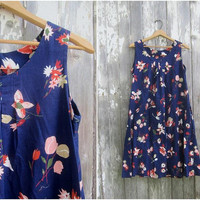 Blue Smock dress Floral Pattern Tent Dress Frock Flower Print Summer lounge dress retro Women's Medium Large