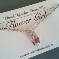 Pink Flower Girl Crystal Necklace, gift, wedding jewelry, flower girl gift, sister, daughter, birthday gift, children, kids