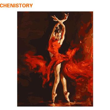 CHENISTORY Fire Ballet Dancer DIY Digital Painting By Numbers Kit Coloring Painting By Numbers Wall Art Picture For Wall Artwork