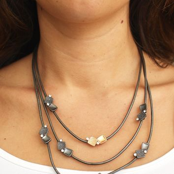 Two Square Cluster 3 Strand Necklace